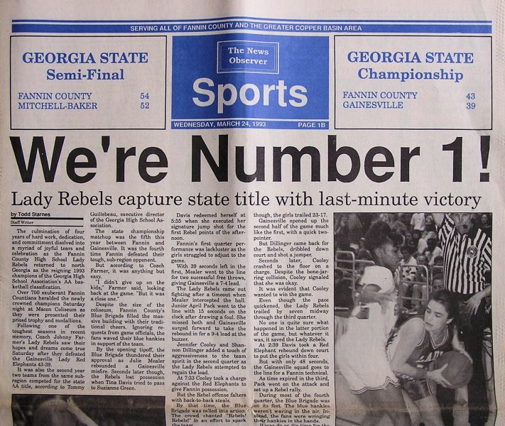 1993-fannin-county-championship-team - Lady Rebels caputre State Title!